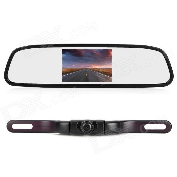 "2-in-1 Car Vehicle Monitor 4.3"" LCD Rearview Mirror & 2.4GHz Wireless Camera w/ 5 IR LED - Black"