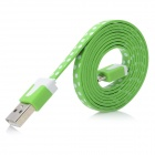 White Dots USB 2.0 Male to Micro USB Male Flat Data Cable for Samsung N7100 / i9300 - Green (100cm)