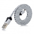 Black Dots USB 2.0 Male to Micro USB Male Flat Data Cable for Samsung N7100 / i9300 - White (100cm)