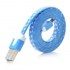 White Dots USB 2.0 Male to Micro USB Male Flat Data Cable for Samsung N7100 / i9300 - Blue (100cm)