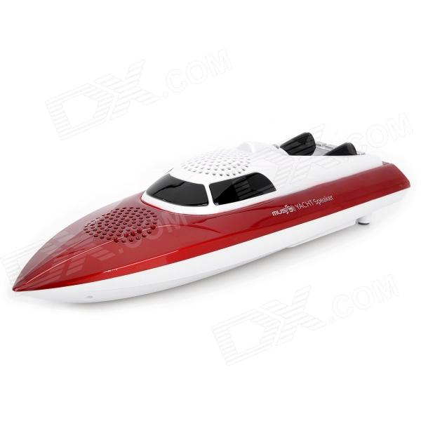 Carrey FS-403 Boat Model Style 0.8'' LCD 2-CH Media Player Speaker w/ TF / FM / USB - Red + White