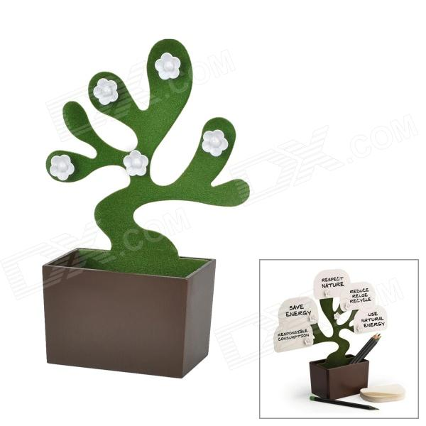 White Follower Tree Shape ABS Magnet Desk Bonsai Pot Storage Case - Green
