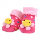 Cute Smiley Flower Style Baby Non-Slip Cotton Socks - Pink + Yellow (Pair)