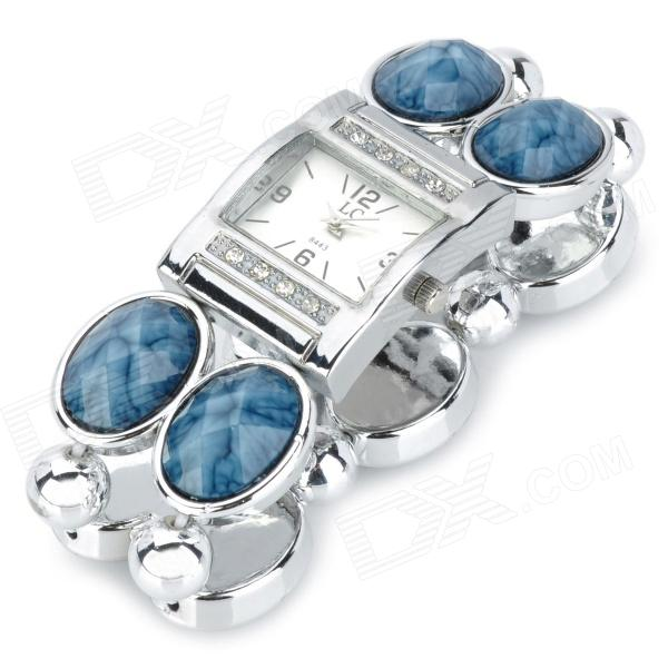 8443 Square Lady's Diamond Set Resin Band Quartz Analog Bracelet Wrist Watch - Silver (1 x 377) stylish bracelet band quartz wrist watch golden silver 1 x 377