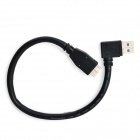 CY U3-024 Ángulo USB 3.0 A macho a Micro USB macho Mobile HDD Cable de datos - Negro (30cm)