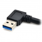 CY U3-024 Angle USB 3.0 A Male to Micro USB Male Mobile HDD Data Cable - Black (30cm)