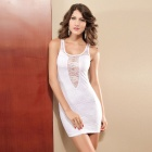 Flower Pattern Sexy Tight Deep V Sleeveless Lace Elastic Vest Dress - White (Size M)