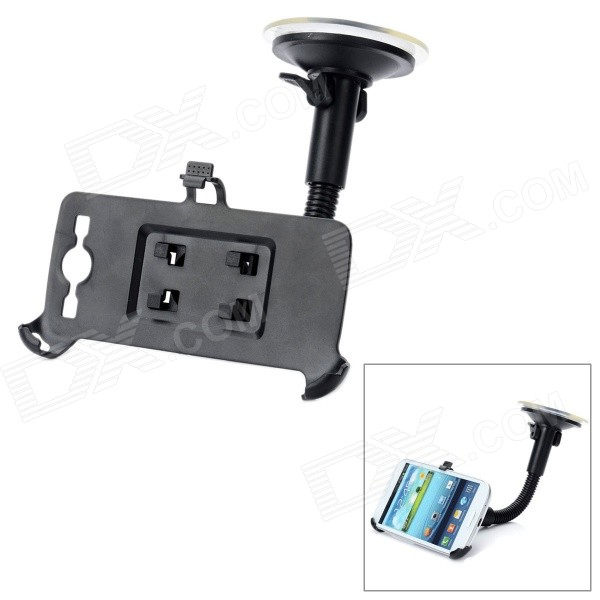 360 Degrees Rotation Car Windshield Swivel Mount Holder for Samsung Galaxy S III / i9300 - Black 360 degree rotation car mount suction cup holder stand bracket samsung galaxy s4 mini i9190 black