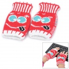 ZZ102 Smile Pattern Half-Finger Yarn Gloves - Red + White (Pair)