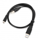 CY U3-073 USB 3.0 Male to Mini USB Male / USB Male Cable for HDD - Black (60cm)
