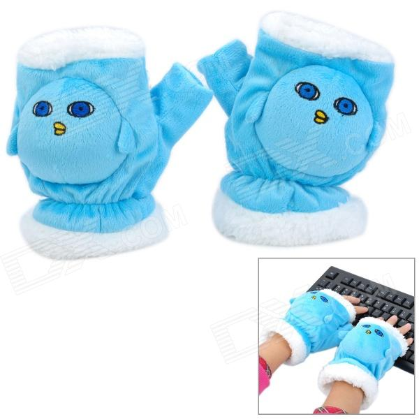 Cute Fashionable Soft Plush Hands Warmer Gloves - Blue + White (Pair) pro biker mcs 01a motorcycle racing full finger protective gloves blue black size m pair