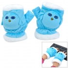 Cute Fashionable Soft Plush Hands Warmer Gloves - Blue + White (Pair)
