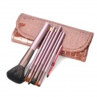 MEGAGA Professional 7-in-1 Horse Hair Cosmetic Brushes Set - Coffee + Rose Brown