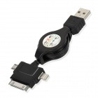 Retractable USB to 8-Pin Lightning + 30-Pin + Micro USB Male to Male Data/Charging Cable - Black