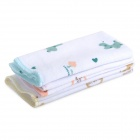 LT-0601 Animals Deer Pattern Baby Infant Cotton Handkerchief Bid Feeding Towel Scarf - White (3 PCS)