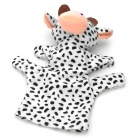 Cute Cow Animal Shaped Soft Cloth Hand Puppet - White + Black
