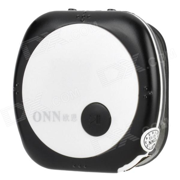ONN V3 Mini Clip-On Sports MP3 Player - Black + White (4GB) onn q6 mini 1 5 screen mp3 player w fm clip silver 4gb