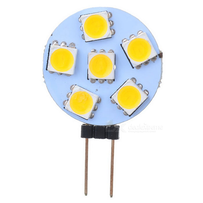 G4 0.9W 78lm 3200K Warm White 6-SMD 5050 LED Light Bulb - Yellow + White (12V)