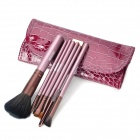 MEGAGA Professionelle 7-in-1 Horse Hair Cosmetic Pinsel Set - Purple + Rose Brown