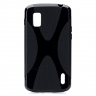 X Pattern Protective TPU Back Case for LG E960 Nexus 4 - Black + Dark Grey