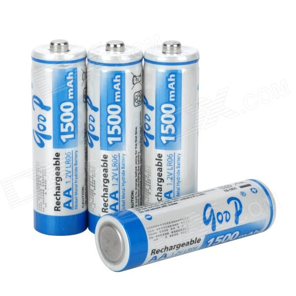 GOOP Replacement 1.2V 1500mAh Rechargeable NiMH AA Battery - White + Blue (4 PCS) hongyang cr123a disposable lithium manganese dioxide aa battery white blue 2 pcs