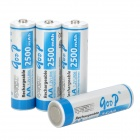 GOOP Replacement 1.2V 2500mAh Rechargeable NiMH AA Battery - White + Blue (4 PCS)