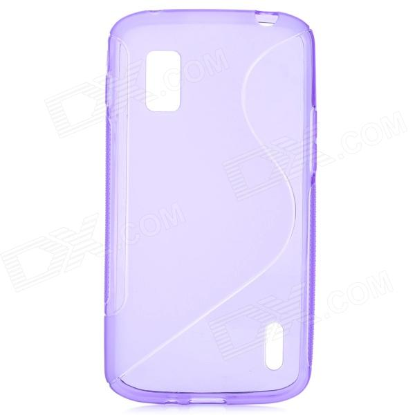 S Style Protective Silicone Back Case for LG Nexus 4 - Translucent Purple s pattern protective plastic case for lg nexus 5 e980 translucent grey