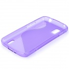 """S"" Style Protective Silicone Back Case for LG Nexus 4 - Translucent Purple"