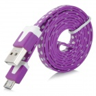 Polka Dot Style Flat USB 2.0 Data/Charging Cable for Samsung N7100 / i9300 / i9220 / i9100 - Purple