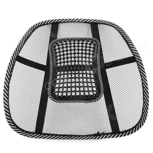 4232 Polyester + Cotton Car Back Cushion w/ Massage Beads - Black