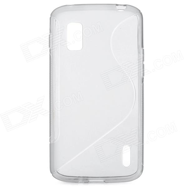S Style Protective Silicone Back Case for LG Nexus 4 - Translucent Grey s pattern protective plastic case for lg nexus 5 e980 translucent grey