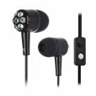 Retractable Clear Bass In-Ear Earphones w/ Mic for iPhone + More - Black (3.5mm Plug / 105cm-Cable)