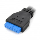 CY U3-042 USB 3.0 20-Pin to 2-Port USB 3.0 Type-A Female Converter Cable - Black (20cm)