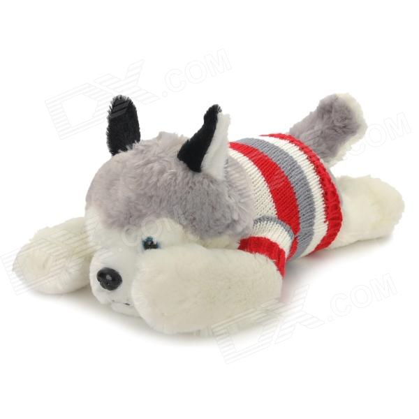 цена на Cute Husky Grovel Dog Soft Plush Toy w/ Knitting Sweater - White + Grey