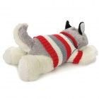 Cute Husky Grovel Dog Soft Plush Toy w/ Knitting Sweater - White + Grey