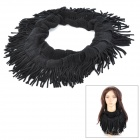 Hollowed-Out Tassel Knitting Wool Scarf for Women - Black
