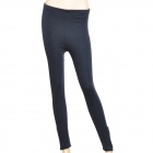 Padded Plush Lining Slim Fit Cotton Pants w/ Zip for Women - Dark Blue (Free Size)
