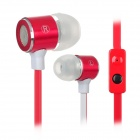 F2-026 Stylish Flat Clear Bass In-Ear Earphones w/ Mic - Red + White (3.5mm Plug / 120cm-Cable)
