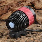 UltraFire 800lm 4-Mode White Zooming Bicycle Headlamp - Black + Red (4 x 18650)
