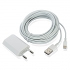 AC Powered Charger + USB 8-Pin Lightning Data / Charging Cable for iPhone 5 - White (EU Plug)