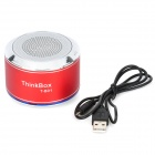 THINKBOX T-B01 Portable Bluetooth v2.1 + EDR Wireless Speaker w/ Microphone - Red + Silver