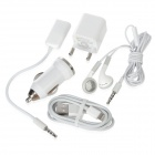 5-In-1 Car Charger + Data Cable + Ear Phone Set for iPhone 5 + More (EU Plug / 100~240V)