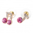 MaDouGongZhu R128-3 Charming Music Note Style Ear Studs - Golden + Deep Pink (Pair)
