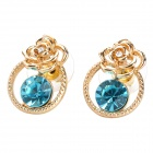 MaDouGongZhu R100-5 Elegant Rose with Ring Shining Rhinestone Earrings - Golden + Blue (Pair)