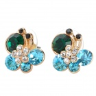 MaDouGongZhu R074-5 Lovely Shining Rhinestone Butterfly Design Ear Studs - Green + Blue (Pair)