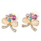 MaDouGongZhu R126-1 Sweet Opal Butterfly Design Ear Studs - Multicolor (Pair)