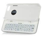 Thickening Slide-out Standing Bluetooth V3.0 51-Key Keyboard Hard Case for iPhone 5 - White + Silver