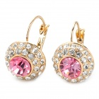 MaDouGongZhu R070-2 Fashion Round Shaped Shining Rhinestone Earrings - Pink (Pair)