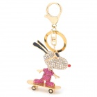 SALY-43129 Cute Cool Cartoon Goat on Skateboard Style Keychain - Golden + Deep pink + White