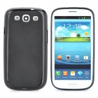 Protective Soft Silicone Back Case w/ Screen Protector for Samsung Galaxy S3 i9300 - Black